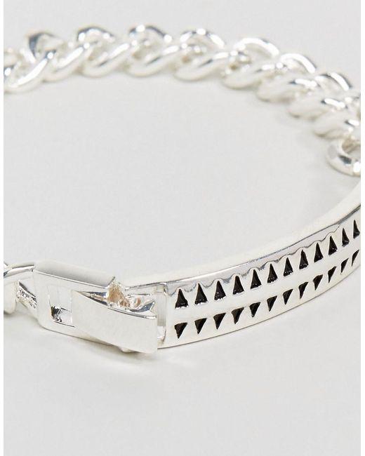 Premium Hound Tooth ID Bracelet In Silver - Silver Icon Brand yu8UMW