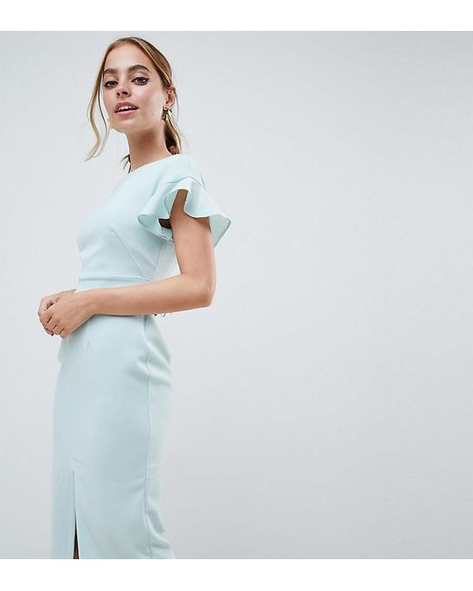 ASOS - Green Asos Design Petite Midi wiggle Dress With Fluted Sleeve - Lyst