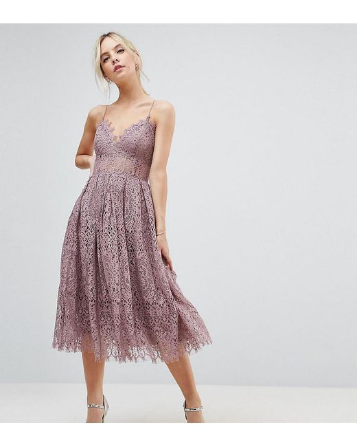 5bcf7b895021f ASOS - Purple Lace Cami Midi Prom Dress - Lyst ...