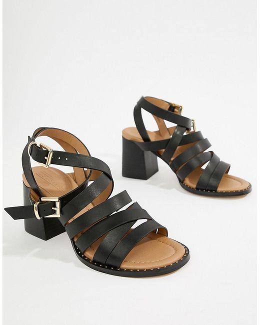 25f32fa9b865 ASOS - Black Terri Strappy Heeled Sandals - Lyst ...