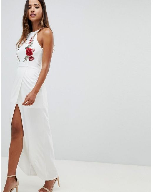 Lyst Girl In Mind Maxi Dress With Floral Applique Detail In White