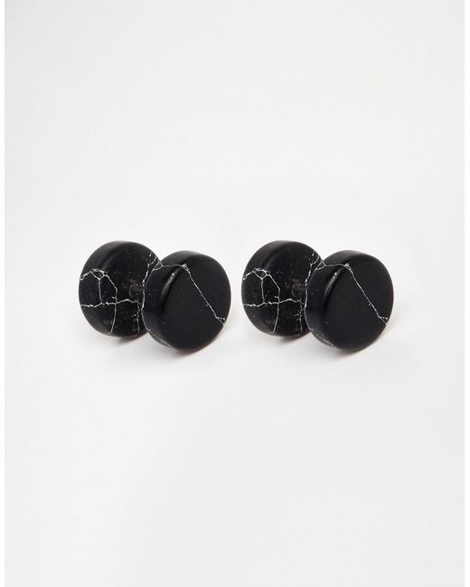 ASOS | Stone Look Plug Earrings In Black for Men | Lyst