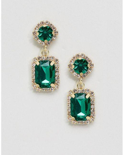 ASOS   Green Double Jewel Drop Earrings   Lyst