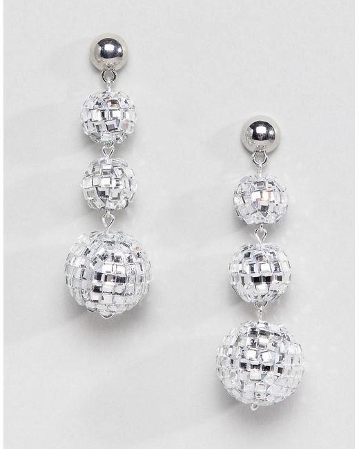 ASOS - Metallic Christmas Earrings In Disco Ball Design In Silver - Lyst
