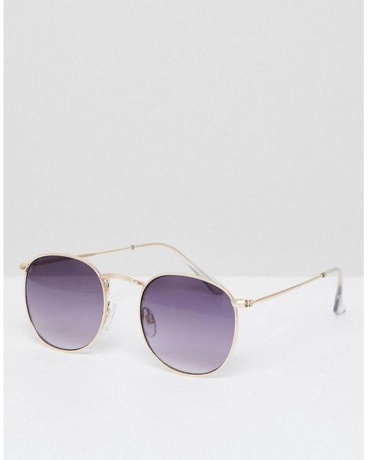 df8d3bd313 A.J. Morgan - Metallic Round Metal Sunglasses In Gold - Lyst ...