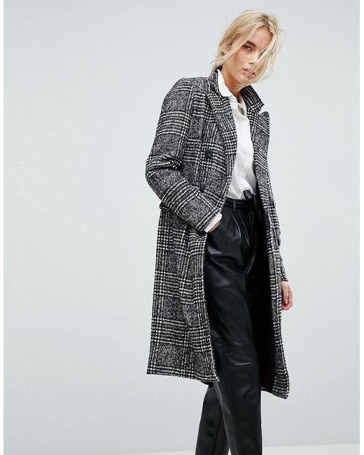 Vero Moda | Black Tailored Check Coat | Lyst