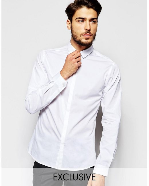 Noak | White Shirt With Micro Collar In Skinny Fit for Men | Lyst