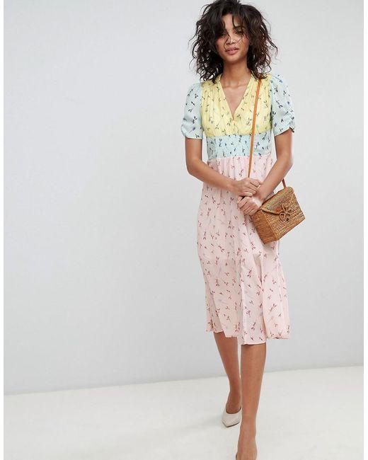 ASOS - Multicolor Midi Mixed Print Pretty Tea Dress - Lyst