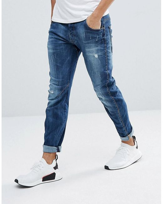 g star raw arc 3d slim jeans with abraisons midwash in. Black Bedroom Furniture Sets. Home Design Ideas