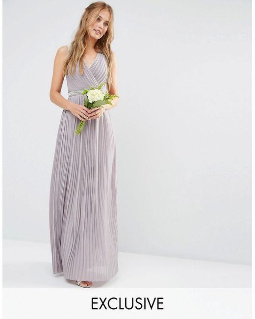 Tfnc London Wedding Pleated Embellished Maxi Dress