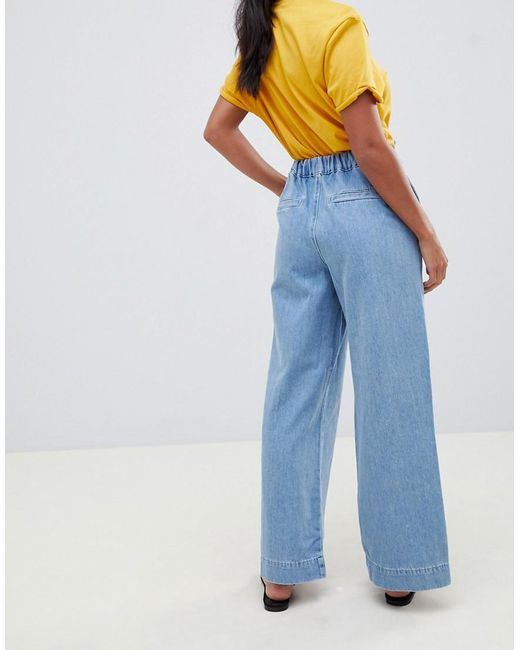 ad388000d97 New Look Wide Leg Jeans In Blue in Blue - Lyst