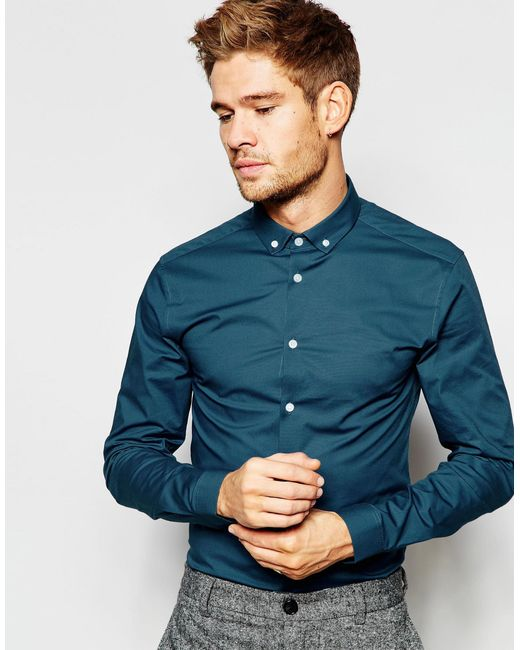 Asos skinny shirt in teal with button down collar in blue for Mens teal button down shirt