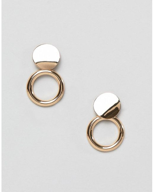 Pieces - Metallic Stud Hoop Earrings - Lyst