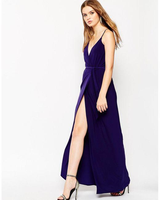 Asymmetric Drape Dress: Asos Asymmetric Drape Kimono Maxi Dress In Blue