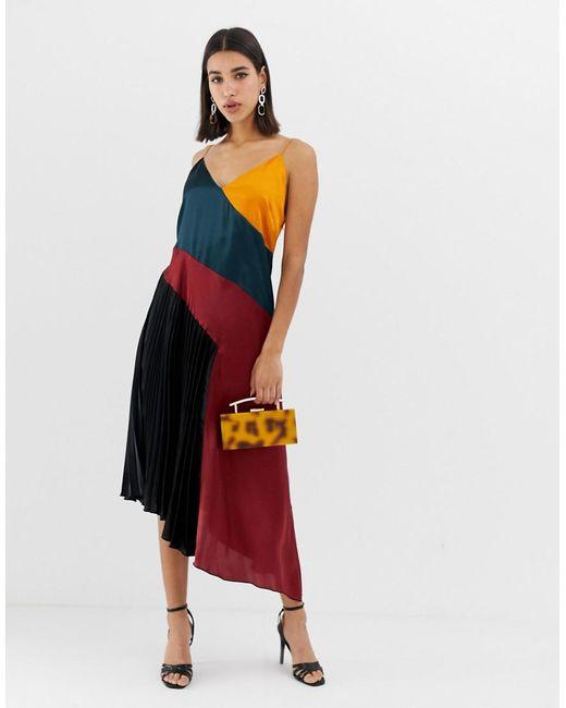 d71e57db9 ASOS - Multicolor Pleated Midi Dress In Colourblock Satin - Lyst ...