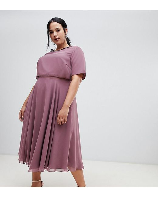 69675ac704f7 ASOS - Purple Asos Design Curve Midi Dress With 3d Embellished Neckline -  Lyst ...