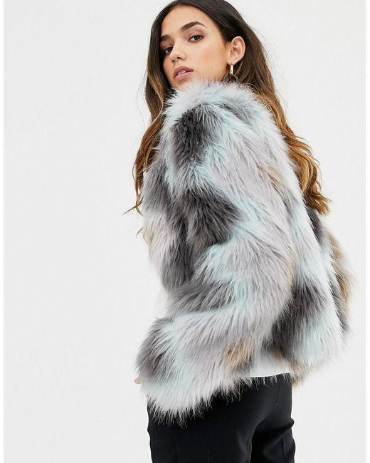 3e91af87a2c ... Vila - Gray Zig Zag Faux Fur Jacket - Lyst