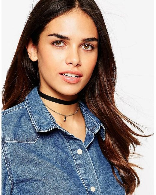 ASOS | Black Velvet And Charm Multirow Choker Necklace | Lyst