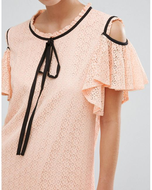 Resultado de imagen de Sister Jane Cold Shoulder Lace Volante Dress With Frill Detail