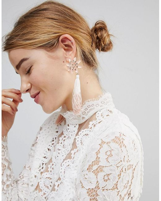 ASOS - Multicolor Pretty Flower And Ombre Tassel Earrings - Lyst