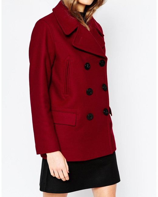 Gloverall Reefer Coat In Cranberry in Red | Lyst