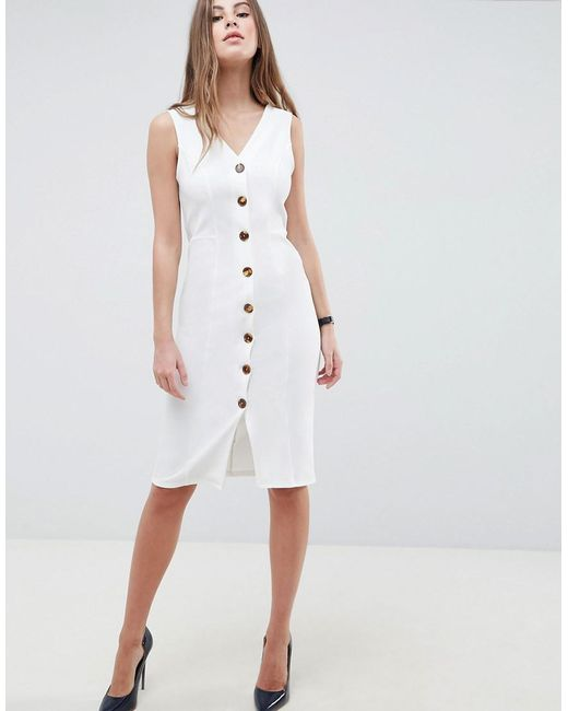 91f5e002bf ASOS - White V Neck Dress With Faux Tortoiseshell Buttons - Lyst ...