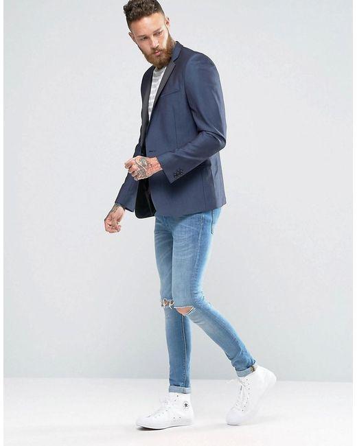 Asos Skinny Suit Jacket In Navy Sheen Fabric in Blue for Men   Lyst