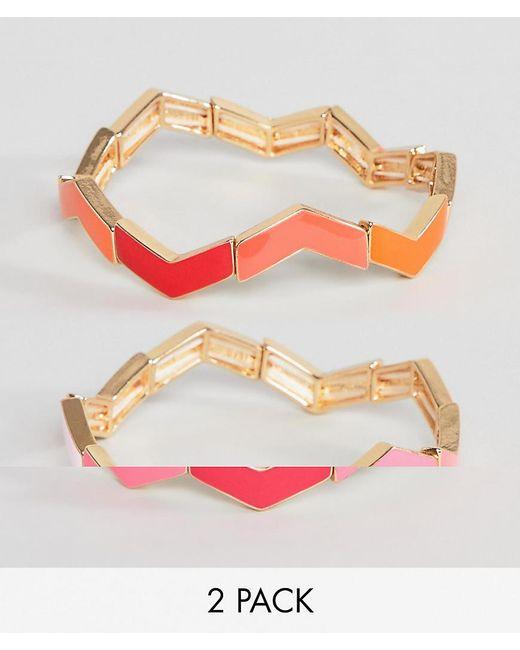 ASOS - Multicolor Pack Of 2 Bracelets In Stacking Zig Zag Design - Lyst
