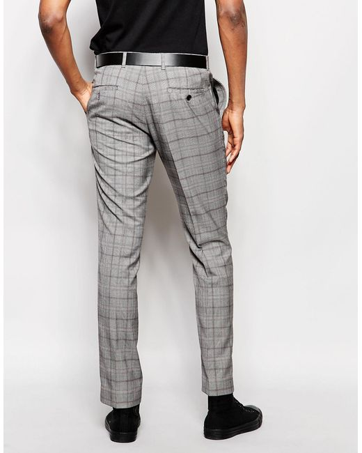 Rudie Slim Fit Heritage Check Suit Trousers In Gray For