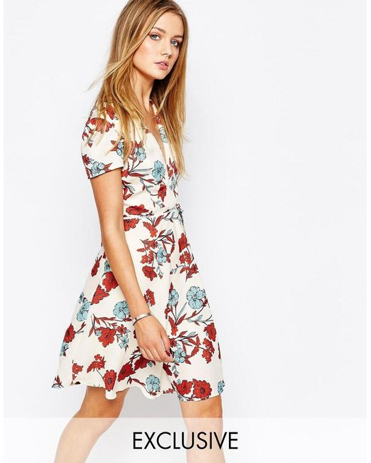 Glamorous | Multicolor Wrap Front Tea Dress In Vintage Floral | Lyst