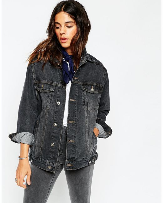 ASOS | Blue Denim Girlfriend Jacket In Washed Black | Lyst