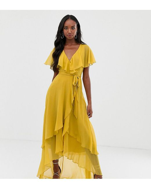 dccb2e1d4c ASOS - Yellow Asos Design Tall Maxi Dress With Cape Back And Dipped Hem -  Lyst ...