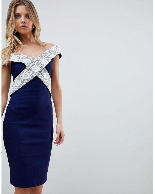 Vesper - Blue Cross Detail Pencil Dress - Lyst