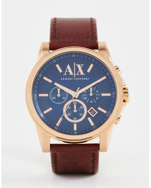 Armani Exchange | Metallic Chronograph Watch With Leather Strap Ax2508 for Men | Lyst