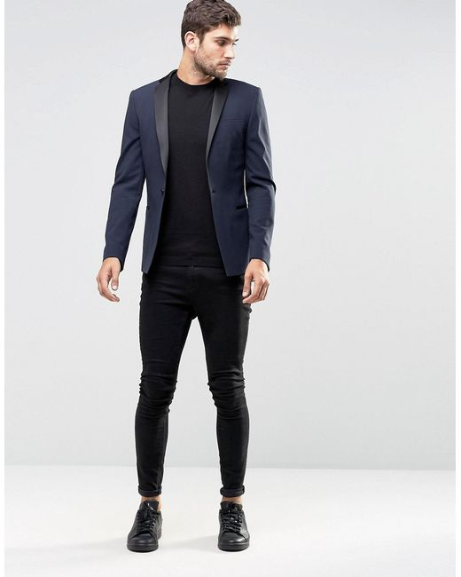 Asos Super Skinny Tuxedo Suit Jacket In Navy in Blue for Men | Lyst