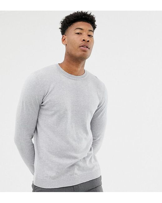 ASOS - Gray Tall Crew Neck Cotton Jumper In Grey for Men - Lyst