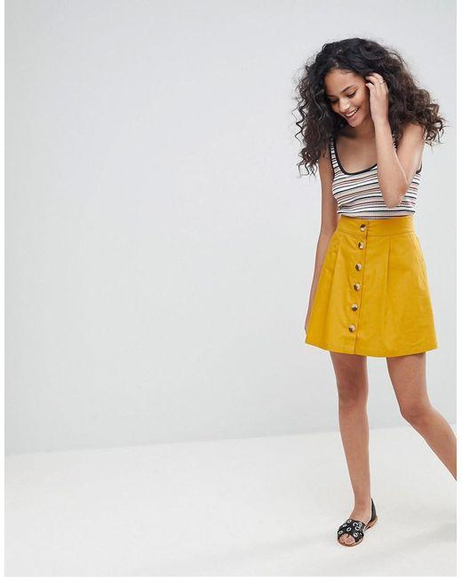 ASOS - Yellow Asos Cotton Mini Skater Skirt With Button Front - Lyst