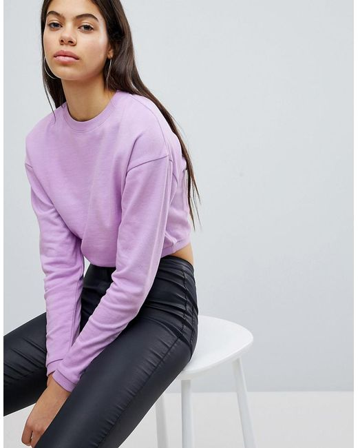 ASOS DESIGN - Purple Asos Cropped Sweatshirt - Lyst