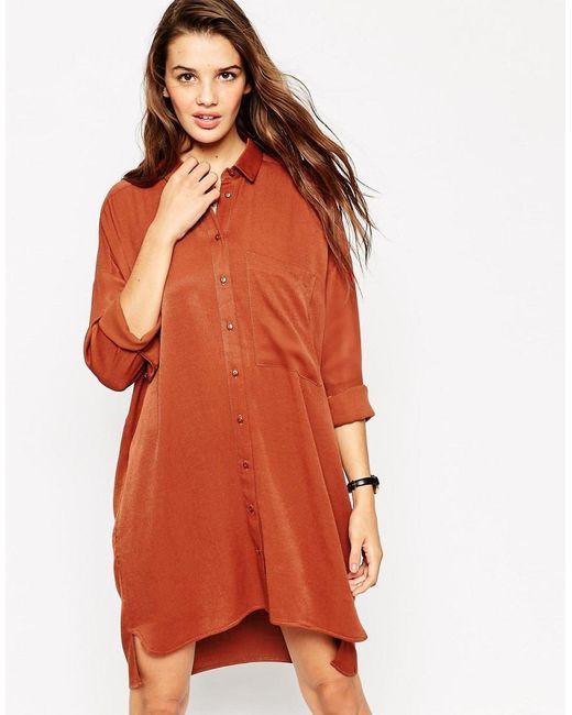 ASOS   Orange Chuck On Shirt Dress   Lyst