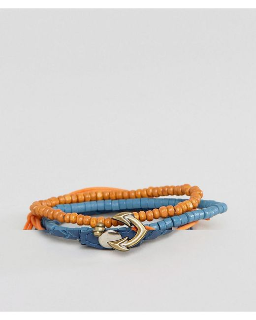 ASOS | Blue Leather And Beads Bracelet Pack With Anchor Clasp for Men | Lyst
