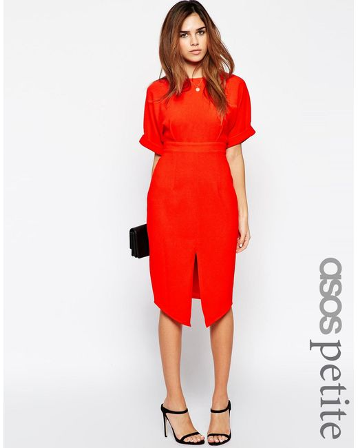 ASOS   Red Petite Wiggle Dress With Split Front   Lyst