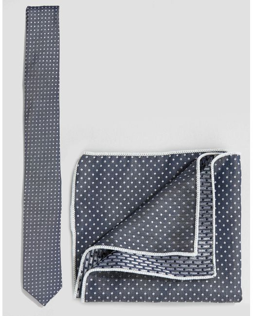 Minimum | Blue Tie And Pocket Square Set In Polka Dot for Men | Lyst
