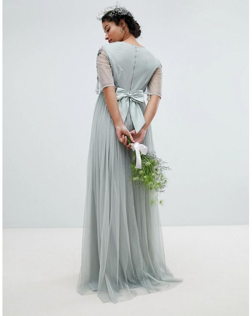7f0a65625fc ... Maya Maternity - Green Embellished Tulle Sleeve Maxi Tulle Dress - Lyst