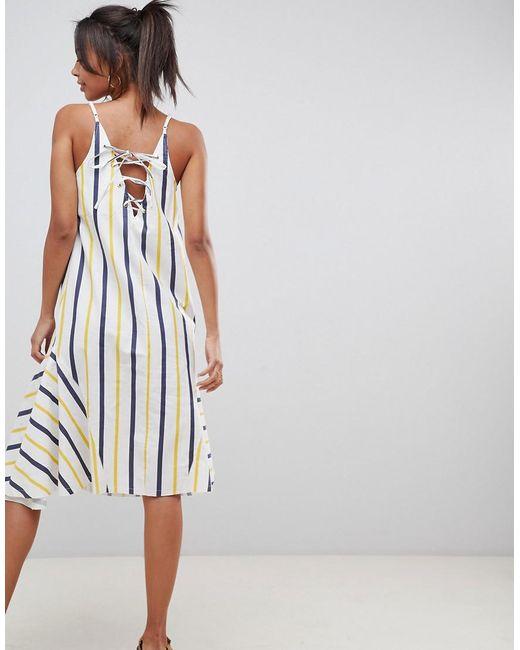 7a7adfcbdfb ... ASOS - Multicolor Asos Design Tall Stripe Swing Trapeze Midi Sundress  With Lace Up Back -