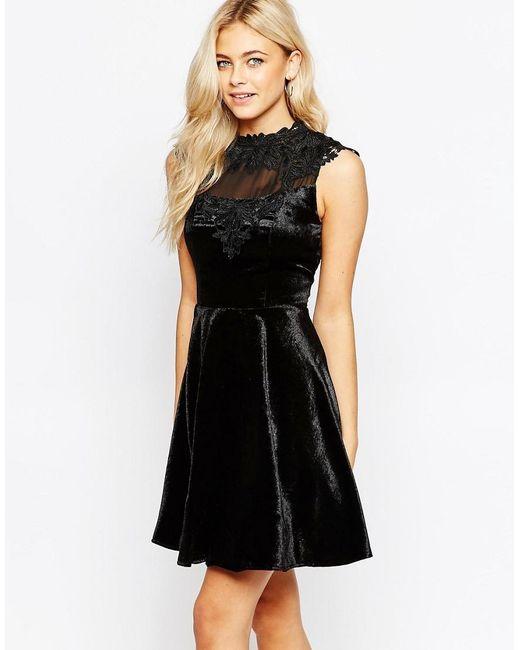 Oasis   Black Asis Velvet Lace Trim Skater Dress   Lyst