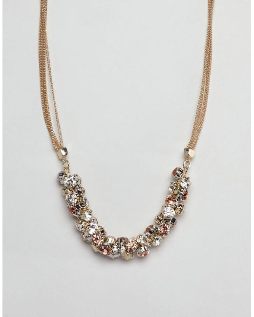 Coast - Metallic Crystal Cluster Chain Necklace - Lyst