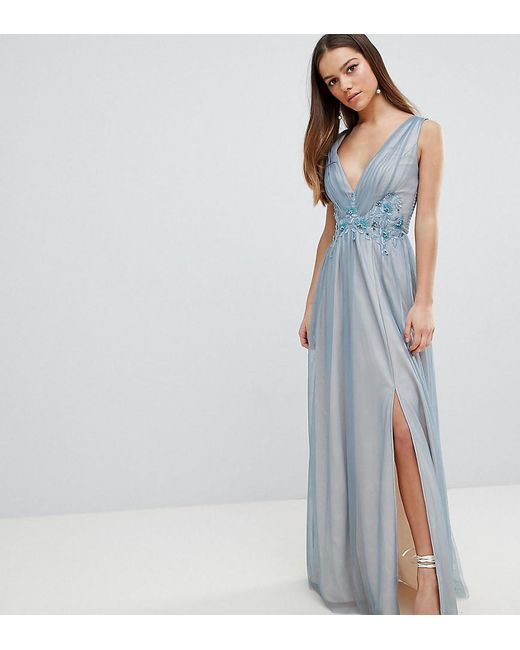 9fd6bb8e232 Little Mistress - Blue Full Tulle Maxi Dress With Embroidery - Lyst ...