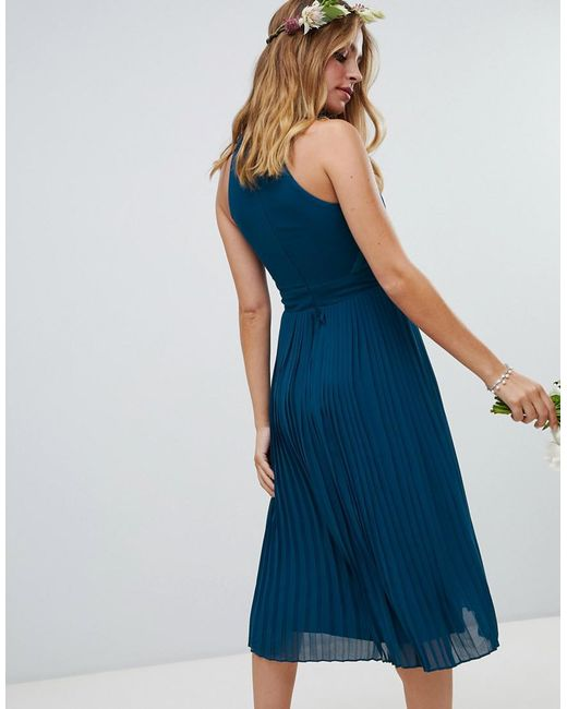 6a4e4faf07d Lyst - TFNC London Pleated Bridesmaids Midi Dress In Petrol Blue in Blue