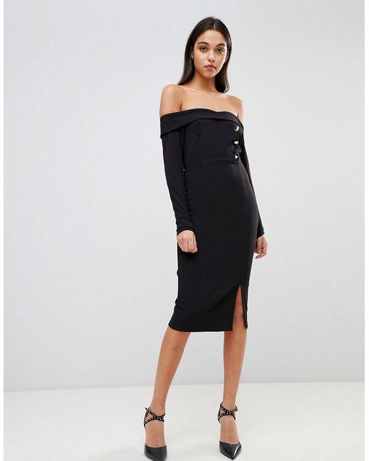 2408c340f1dca ASOS - Black Bardot Button Through Pencil Dress - Lyst ...