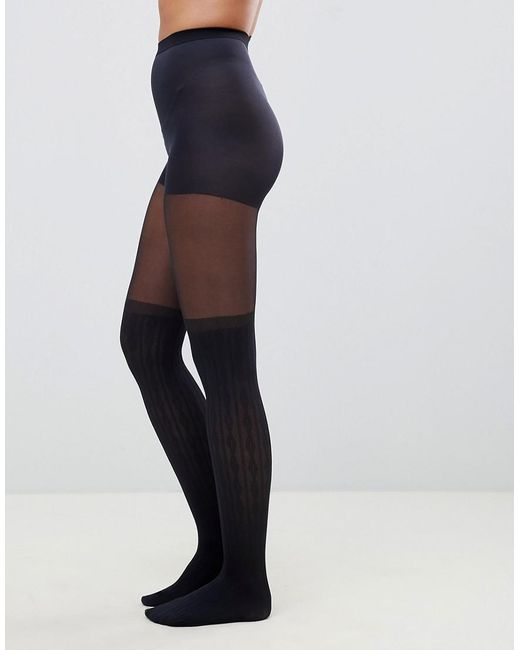 f9e02133b08 ... ASOS - Black Recycled Cable Over The Knee Tights With Control Top - Lyst